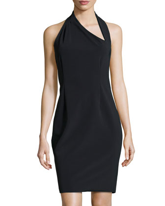 Asymmetric Halter Dress, Black