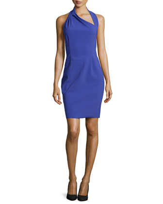 Sleeveless Asymmetric-Neck Dress, Wisteria