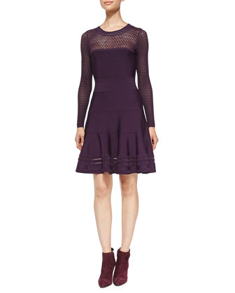 Body-Conscious Knit Fit-and-Flare Dress