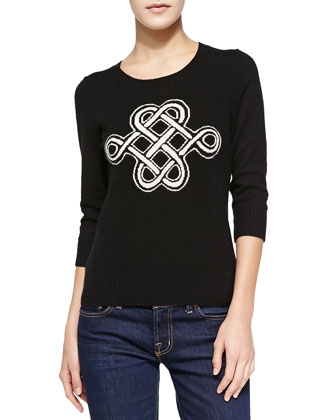 Intarsia Celtic Knot Cashmere Sweater
