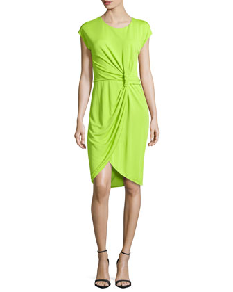 Knot-Waist Faux-Wrap Dress, Lime Green