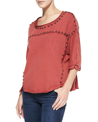 Dillon Studded Jersey Tee, Red Rust