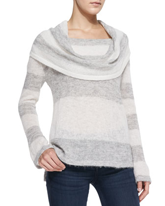 Lulu Rugby-Stripe Cowl-Neck Sweater, Ivory/Gray