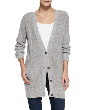 Cloudy Day Chain-Knit Cardigan, Gray