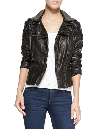 Hooded Faux-Leather Moto Jacket, Black