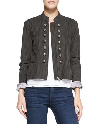 Femme Pintucked Faux-Suede Band Jacket, Dark Gray