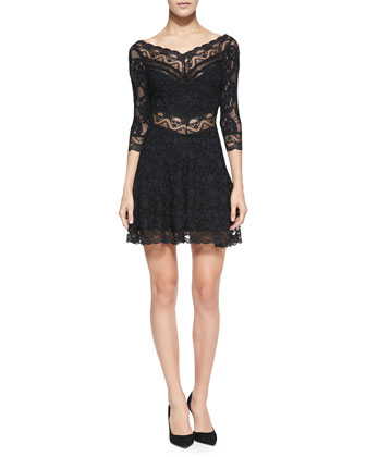 Lacey Affair Sheer-Lace Dress, Dark Navy