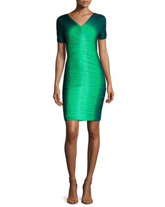 Short-Sleeve Ruched Ombre Dress, Grass/Navy