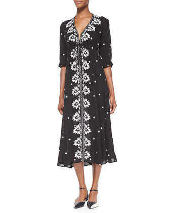 Floral-Embroidered Voile Dress, Black/White