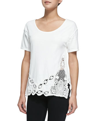 The Stone Floral Crochet Tee, Ivory