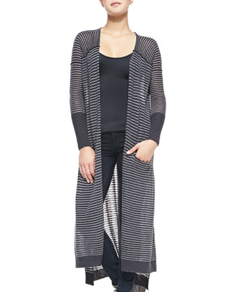 Merci Striped Open-Front Long Cardigan, Light Gray/Deep Gray