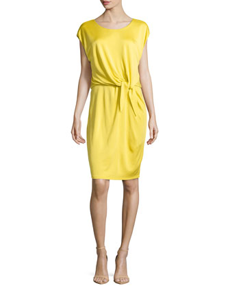 Bateau-Neck Knot-Waist Dress, Daffodil