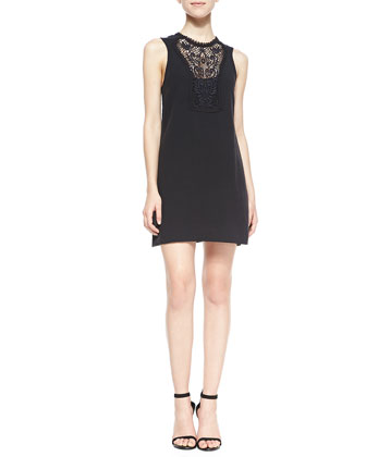 Maribelle Crochet-Inset Mini Dress, Black