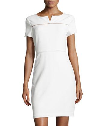 Diamond-Crochet Inset Soft Twill Dress, Bone