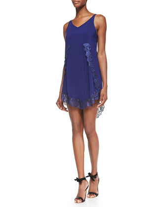 Eyelashes Lace-Trimmed Slip Dress, Dark Blue