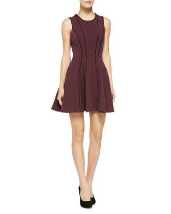 Hazed Contrast-Seamed Fit-And-Flare Dress, Wine