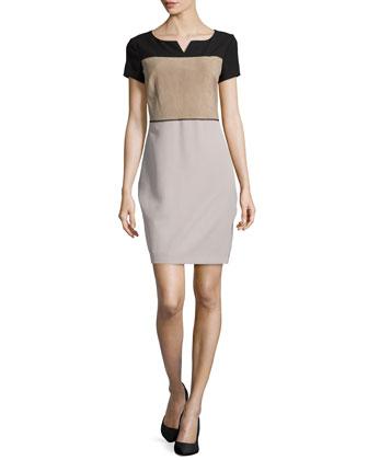 Suede Colorblock Diamond-Stiched Dress, Black/Fatigue/Flint