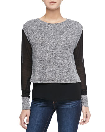 Hazel Layered Combo Top, Black/Gray