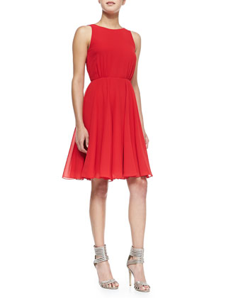 Winter Spells Chiffon Fit-And-Flare Dress, Royal Scarlet