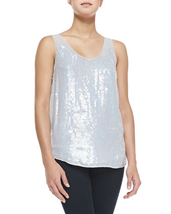 Winter Mist Allover Sequin Tank, Marble
