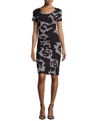 Short-Sleeve Printed Ruched Dress, Black/Chalk/Rose