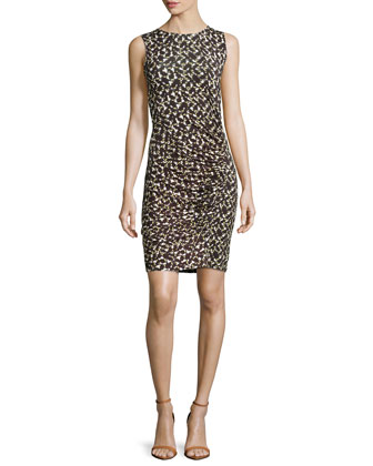 Sleeveless Printed Jersey Dress, Daffodil Linear