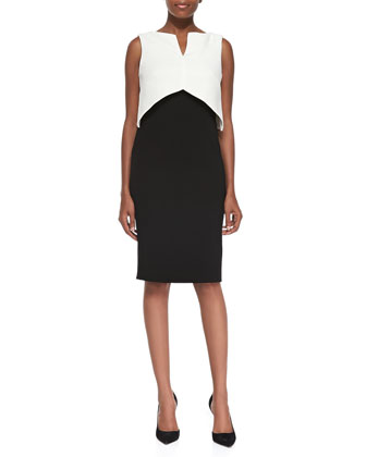 Sleeveless Colorblock Popover Sheath Dress