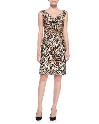 V-Neck Leopard-Print Sheath Dress