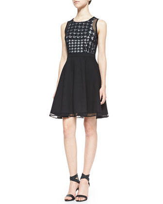 Nancy Houndstooth Check Combo Dress, Black/White