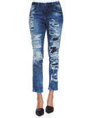 Distressed & Stitched Skinny Jeans, Blue