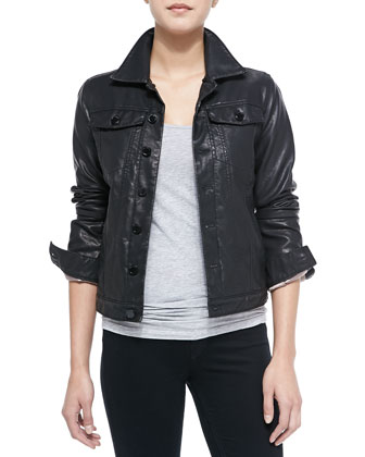 Night Rider Faux-Leather Jacket, Black