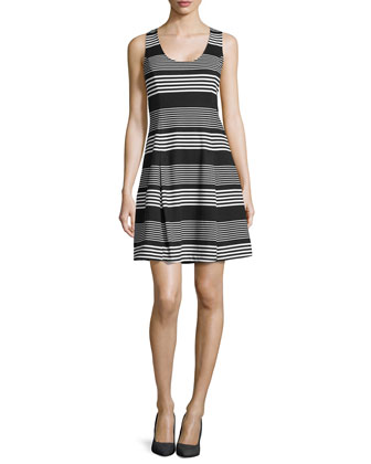 Mix-Stripe Ponte Fit-and-Flare Dress, Black/Chalk