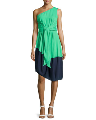 One-Shoulder Asymmetric Colorblock Dress, Grass/Navy