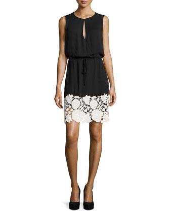 Lace-Border Voile Dress, Black/Bone