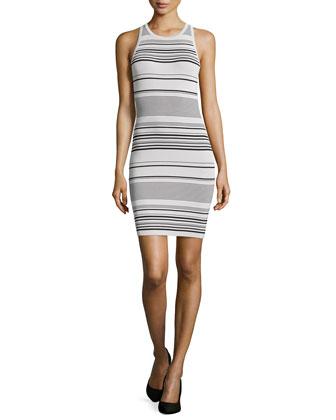 Striped Racer Sweaterdress, Flint/Black