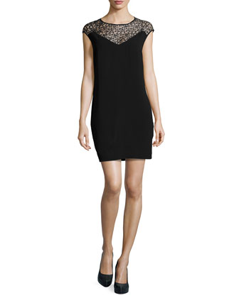 Lace-Yoke Shift Dress, Black
