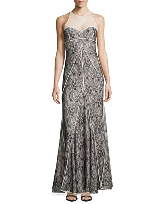 Floral-Lace Godet Gown, Shell/Black