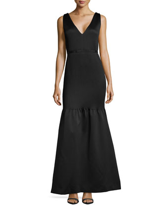 Matelasse Satin Drop-Waist Gown, Black
