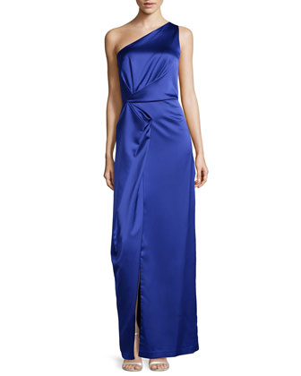 One-Shoulder Fold-Detailed Satin Gown, Dark Wisteria