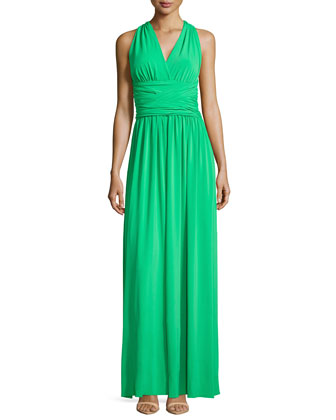 Sleeveless Gathered Crisscross Gown, Grass