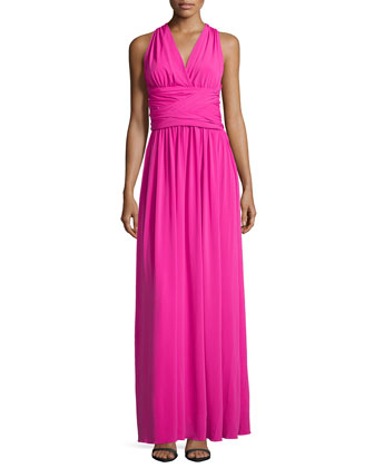 Slinky Jersey Ruched Gown, Petunia