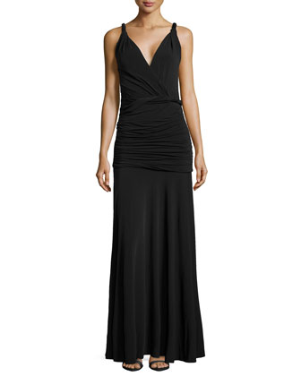 Twisted Ruched Jersey Gown, Black