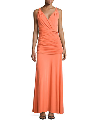 V-Neck Ruched Jersey Gown, Tangerine