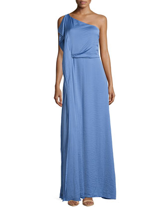 One-Shoulder Tier-Draped Gown, Dark Chambray