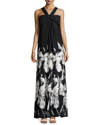 Draped Floral-Print Gown, Black/White/Gray