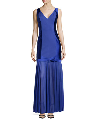 Satin-Paneled Drop-Waist Gown, Dark Wisteria