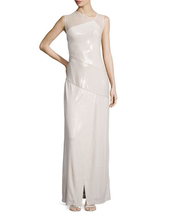 Asymmetric Allover Sequin Gown, Shell