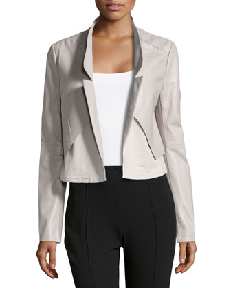 Cropped Leather Combo Jacket, Flint