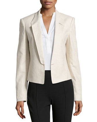 Linen-Blend Open-Front Jacket, Natural