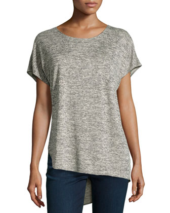 Short-Sleeve Asymmetric-Hem Tee, Heather Gray